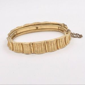 Mid Century Textured Safety Chain Bangle Bracelet